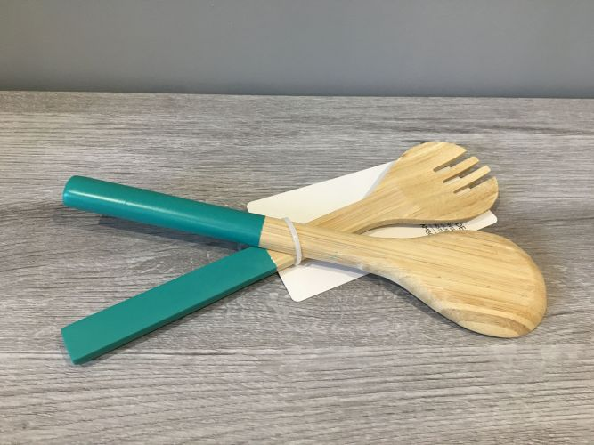 COUVERTS A SALADE EN BAMBOU TURQUOISE